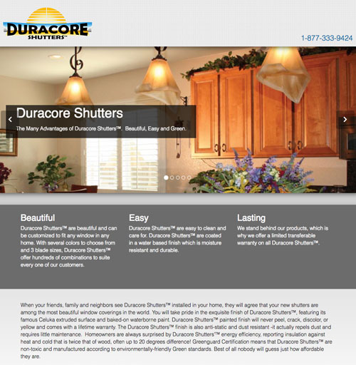 Duracore Shutters Website