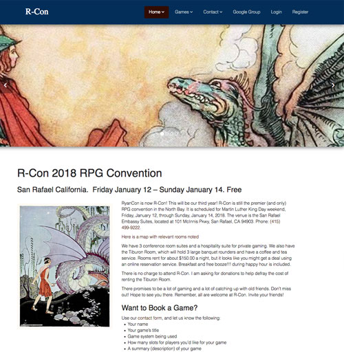 R-Con Gaming Convention Website